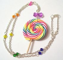 Rainbow Lollipop Necklace by SupernovaDesigns