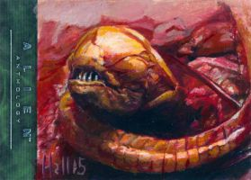 alien anthology oil sketch card 1 by charles-hall
