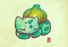 Sleeping Bulbasaur by Cameron-Brideoake