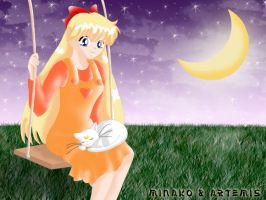 Minako and Artemis by lilpurpleperson