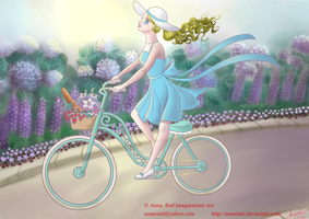 Whimsical bicyclist by AnnaRIART