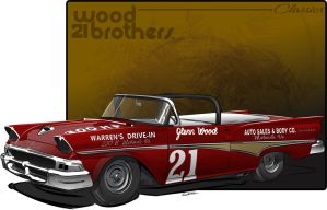 Wood Brothers 58 Ford Fairlane by graphicwolf