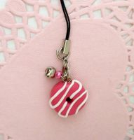 Pink and White Donut Charm by ChibiWorks