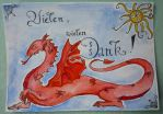 Red Dragon - Thank you card by Hedgefairy