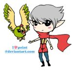 Ninja boy and his parrot by geldjager