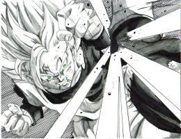 ssj 2 goku blocks vegeta kick by trunks24
