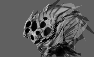 Daily Sketch Creep Head WIP by Solidified-Light