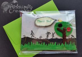 Handmade/Painted ZOMBIE Thank You Card by PossumPip-Creations