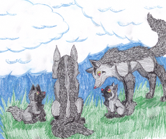 Mightyena Family by racingwolf