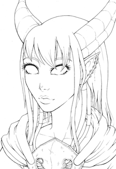 Commission - Draenei lineart by MangaAnimeLover