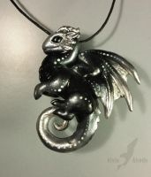 Snow obsidian dragon pendant by AlviaAlcedo