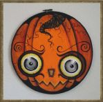 3D Bug-Eyed Haunted Halloween Hoop Pumpkin by peggytoes