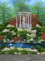 The Garden Pond with path by VIRGOLINEDANCER1