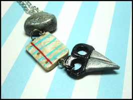 Rock, Paper, Scissors Necklace by GrandmaThunderpants