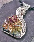 Woven Wire Bismuth Pendant in Silver- Sunset by HeatherJordanJewelry
