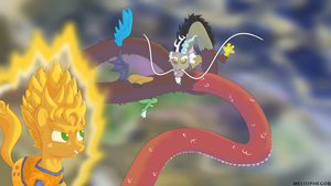 Super Saiyan Applejack vs Shenron Discord by Meliophegor