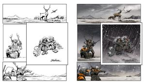 Snow attack. Inks and color. by RichYan33