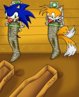 Sonic and Tails mummified by KurtType5