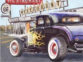 1932 Ford Hot Rod In Santa Rosa, New Mexico by FastLaneIllustration