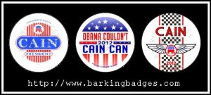 Herman Cain Campaign Buttons by Conservatoons