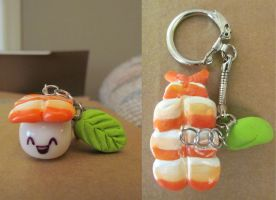 Shrimp Sushi Keychain by cozjetez