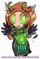 WoW Chibi : Blood Elf Warlock by DivineTofu