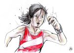 Ines Melchor  Running - Female Athlete by AtLeastimalive