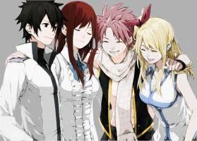 Gray, Erza, Natsu and Lucy by Cheesy145