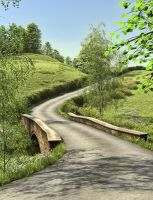 Country Lane 2 Premade Background by Roys-Art