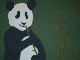 Panda with Bamboo by AbbyRoses