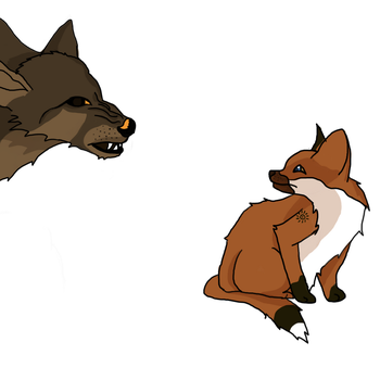 the fox and the wolf by LeaFaciliter