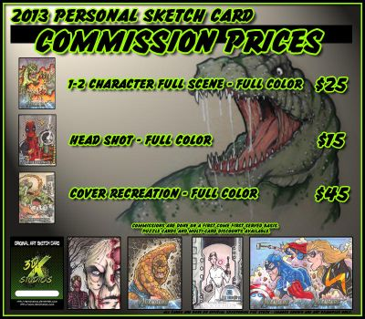2013 Sketch Card Commissions by 3DXStudios
