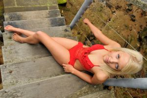 Kirsty - swimsuit on steps 1 by wildplaces