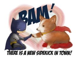 Batman and Corgi - 360 by unsolvedenigma