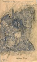 Pencil test - sketch 1 - Optimus Prime by alienforce1004