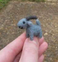 Micro needle felted goat by SnowFox102