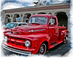 Classic Red Ford Truck by DleeKirby