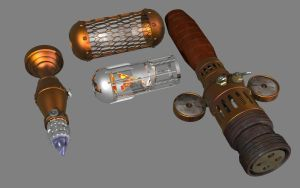 Steampunk Lightsaber Parts by lady-die