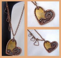 Copper and Brass Pendant by KarenOlwen