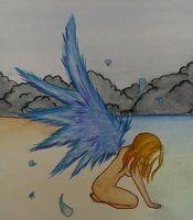 Angel crying on the shore by iloveyoustitch