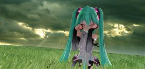 Hatsune Miku crying MMD by darkvadou