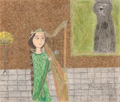 Queen Elinor playing the Harp by daisyplayer1
