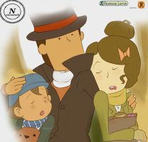 Layton and His babies by Nonomoh123