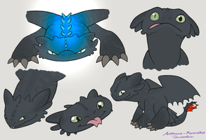 Toothless Faces ~Colored~ by Anathema-Maranatha