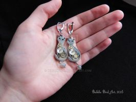 Moonlight - Steampunk earrings with Labradorite by IkushIkush