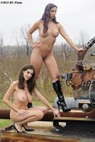 Kerri T and Violetta Storms at the gas well by rp-photo