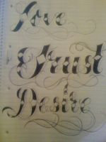 Tattoo Lettering Script by 12KathyLees12