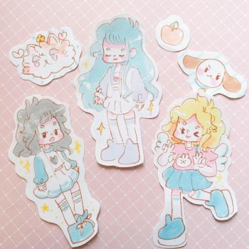 Chibi fashionistas hand drawn pastel stickers  by pomifumi