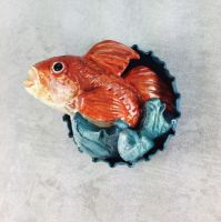 Red Fish Pop-Out Magnet by LeiliaClay