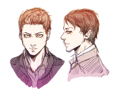 SUPERNATURAL. Dean and Castiel sketch by Masiru-chan